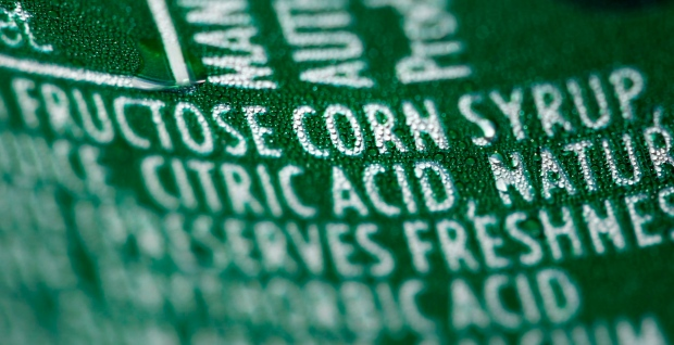 Nutrition label with fructose corn syrup