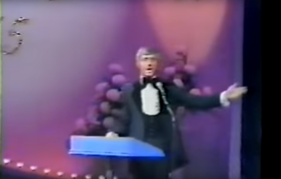 Jim Perry is seen here hosting Miss Canada, a role he held for over two decades. (YouTube)