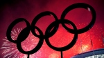 The Olympic Rings are silhouetted as fireworks light up the sky during the closing ceremonies at the 2014 Sochi Winter Olympics in Sochi, Russia on Sunday, February 23, 2014. (THE CANADIAN PRESS / Nathan Denette)