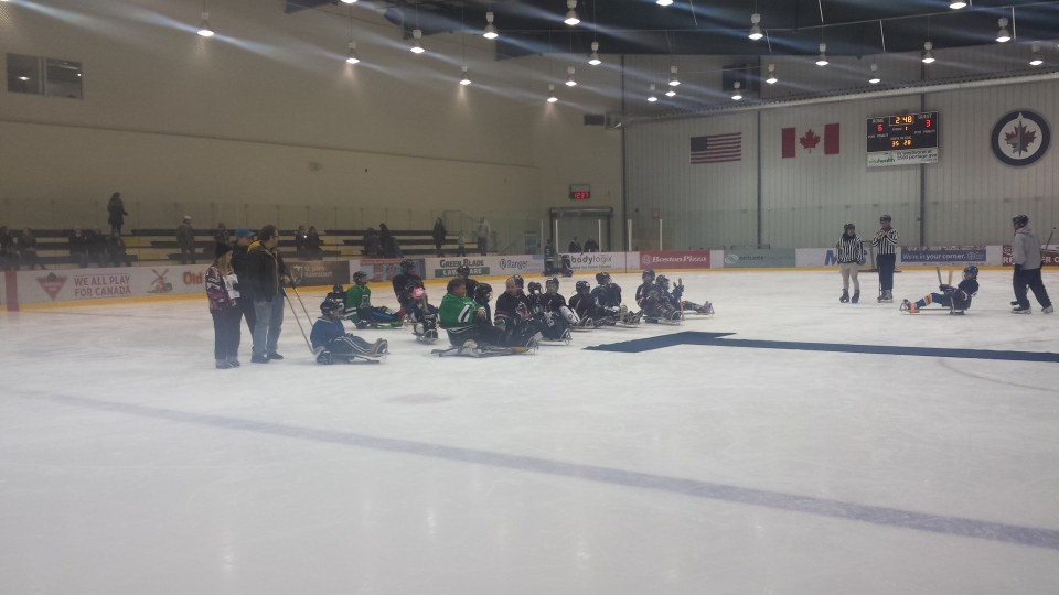 Sledge hockey players participate in a display of their sport at the MTS Iceplex as part of RBC Sports Day.