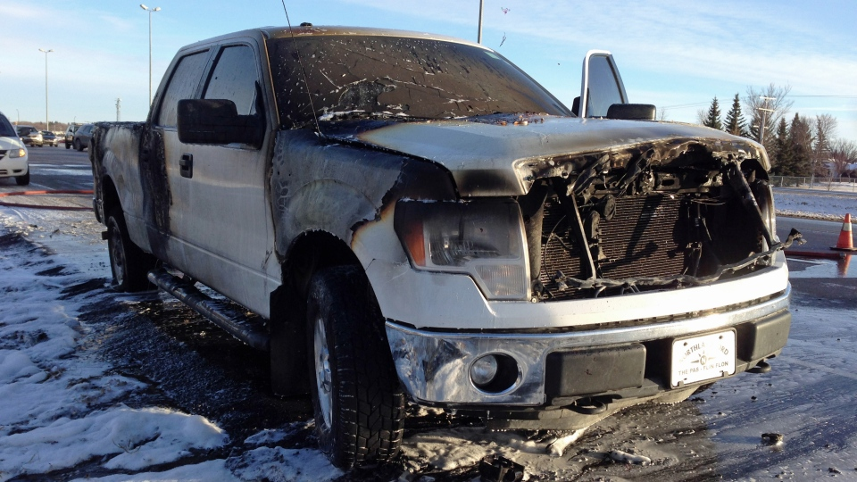 A truck was left completely burned on Saskatoon's west edge after a fire Saturday.