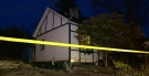 Police tape surrounds a home in Bradford, Ont., while police investigate a homicide on Saturday, Nov. 21, 2015. (Chris Garry/ CTV Barrie)