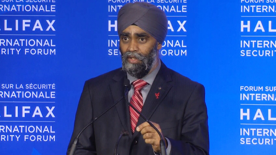 Defence Minister Harjit Sajjan takes questions from reporters at the Halifax International Security Forum on Sunday, Nov. 22, 2015.