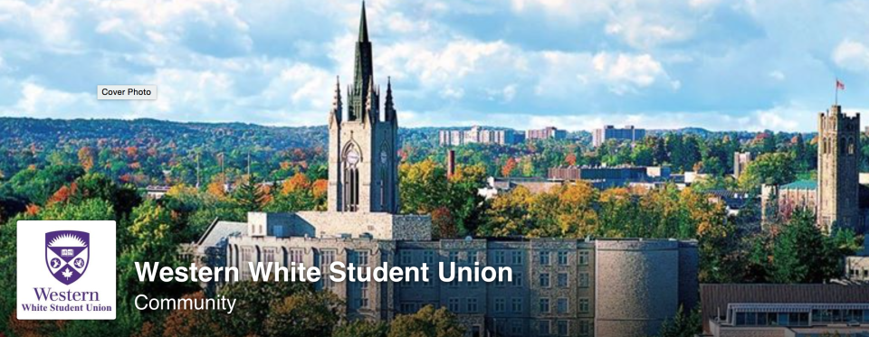 The 'Western White Student Union' Facebook page is seen before the logo was removed and the name changed to WWSU White Student Union.