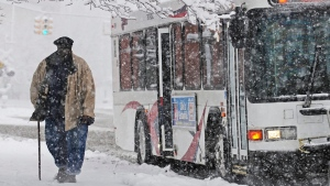 A man exits a bus on East Michigan Avenue as snow falls in Jackson, Mich. Saturday, Nov. 21, 2015. (Jessica Christian/Jackson Citizen Patriot via AP)