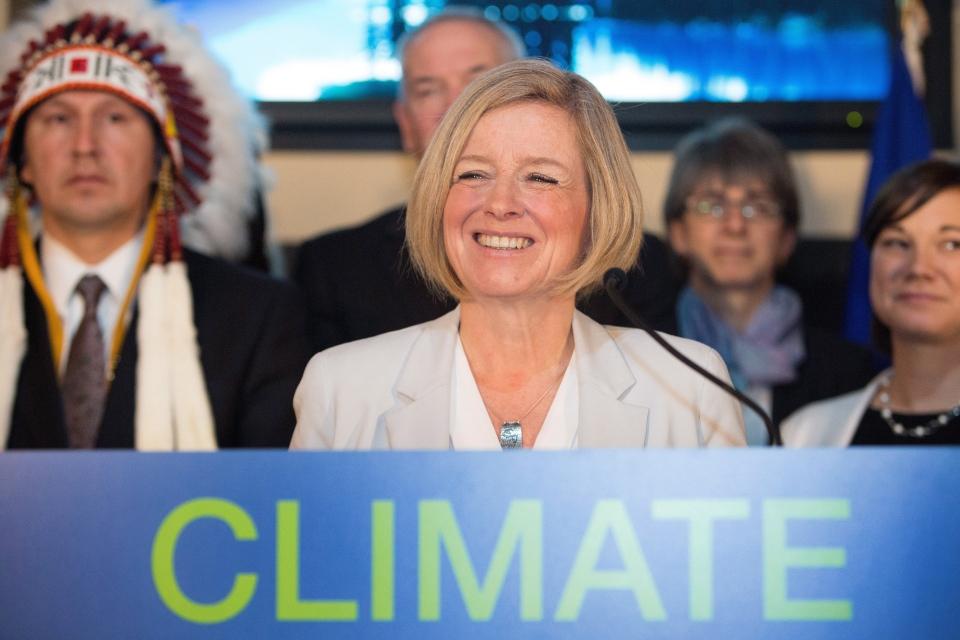 Premier Rachel Notley unveils Alberta's climate strategy in Edmonton, Alberta, on November 22, 2015. (Amber Bracken / The Canadian Press)