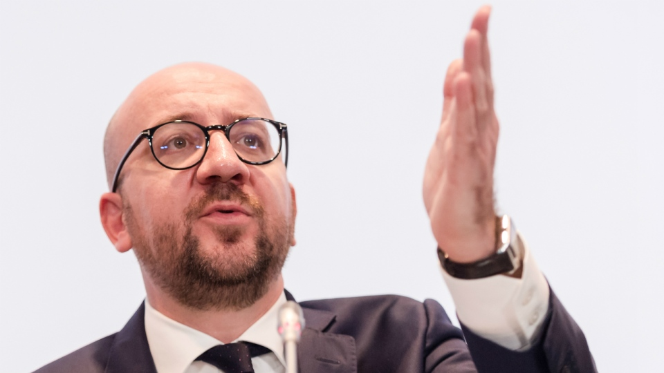 Belgium's Prime Minister Charles Michel addresses the media after a National Security Council meeting in Brussels on Sunday, Nov. 22, 2015. (AP / Geert Vanden Wijngaert)