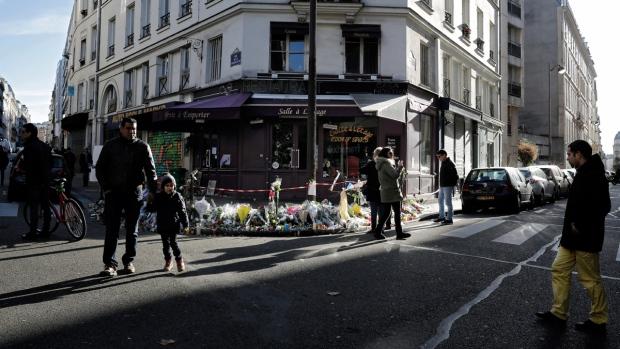 Outside the 'Casa Nostra' restaurant in Paris