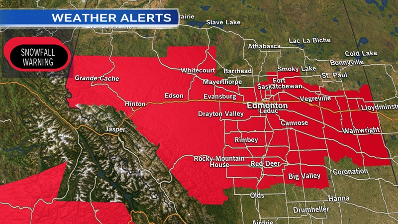 Snowfall warnings issued for parts of north-central Alberta for Monday, November 23, 2015.