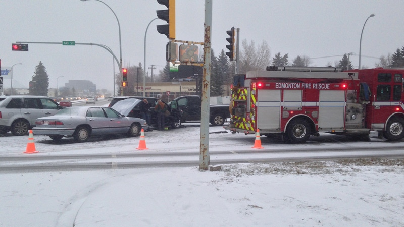 Emergency crews on the scene of a multiple vehicle collision on the intersection of 111 Ave. and 149 St. on Monday, November 23, 2015.