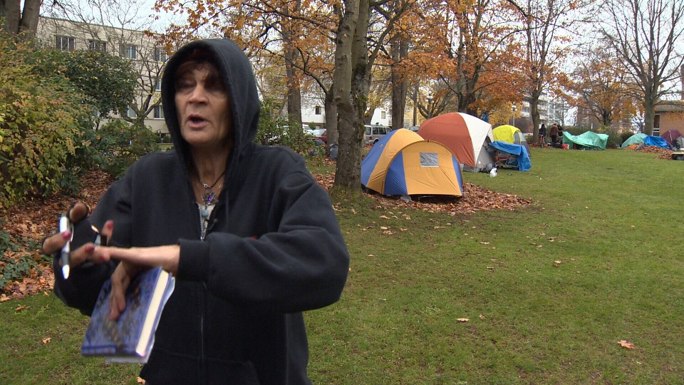 Katherine, who has been living in the tent city on the Victoria Courthouse lawn, says occupants are keeping tidy and just want a place to sleep. Nov. 23, 2015. (CTV Vancouver Island)