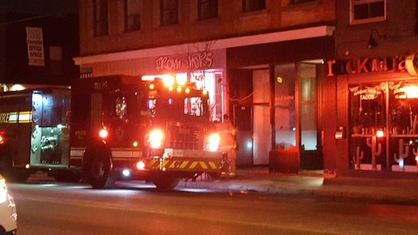 Fire Crews and Police attend the scene of an Arson at a downtown London restaurant on Tuesday, November 24, 2015. (Justin Zadorsky / CTV London)
