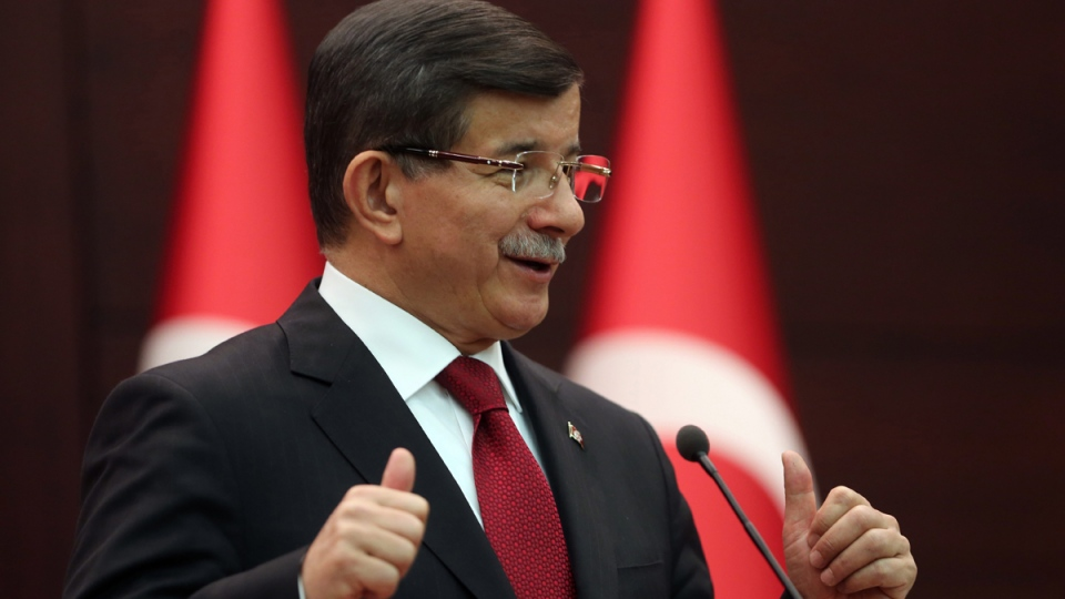 Turkish Prime Minister Ahmet Davutoglu in Ankara, Turkey, on Nov. 24, 2015. (Burhan Ozbilici / AP)