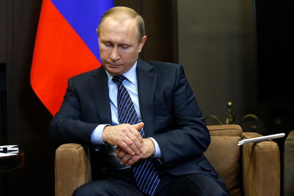 Russian President Vladimir Putin meets with Jordanian King Abdullah II in the Bocharov Ruchei residence in the Black Sea resort of Sochi, Russia, Tuesday, Nov. 24, 2015. (Maxim Shipenkov/Pool Photo via AP)
