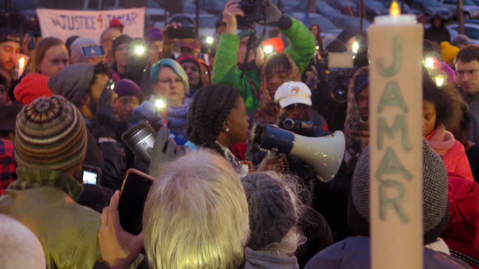 This Nov. 20, 2015, file photo shows Minneapolis NAACP leader Nekima Levy-Pounds speaking at a prayer vigil n Minneapolis. (AP / Greg Moore, File)