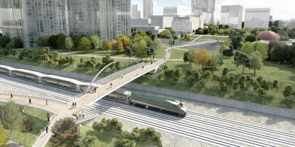 A concept sketch shows a plan for the Fort York Pedestrian and Cycle Bridge.
