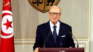 Tunisian President Beji Caid Essebsi, speaks as he announces the state emergency in Tunis, Tunisia, Saturday July 4, 2015. (AP Photo/Ali Louati)