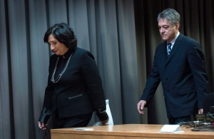 Superior Court Justice France Charbonneau arrives at a press conference with commissioner Renaud Lachance to release her report that looked into corruption in Quebec's construction industry, in Montreal, Tuesday, Nov. 24, 2015. (Paul Chiasson / THE CANADIAN PRESS)