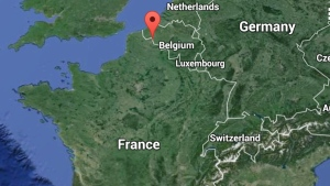 In this Google map, Roubaix, France is noted with the red point.