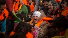Refugees and migrants arrive in Greece from Turkey