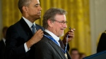 President Barack Obama awards filmmaker Steven Spielberg the Presidential Medal of Freedom, Tuesday, Nov. 24, 2015, during a ceremony in the East Room at the White House in Washington. (AP / Andrew Harnik)