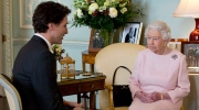Prime Minister of Canada Justin Trudeau meets Britain's Queen Elizabeth II during a private audience at Buckingham Palace, London, Wednesday Nov. 25, 2015. (Yui Mok/Pool via AP)