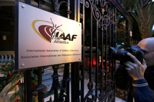 In this Nov.13, 2015 file photo, the International Amateur Athletic Federation logo is shown at IAAF headquarters in Monaco. (AP / Lionel Cironneau)