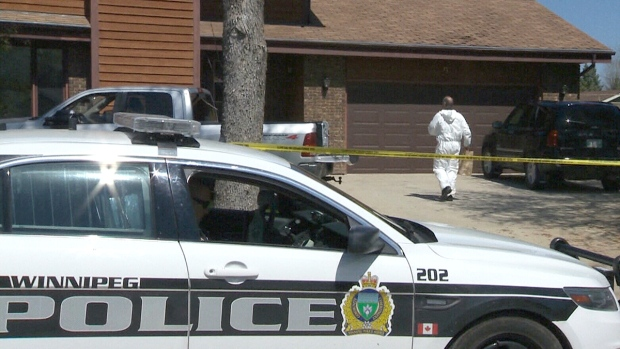 Winnipeg Police officers are seen at a crime scene in Winnipeg in this undated photo.