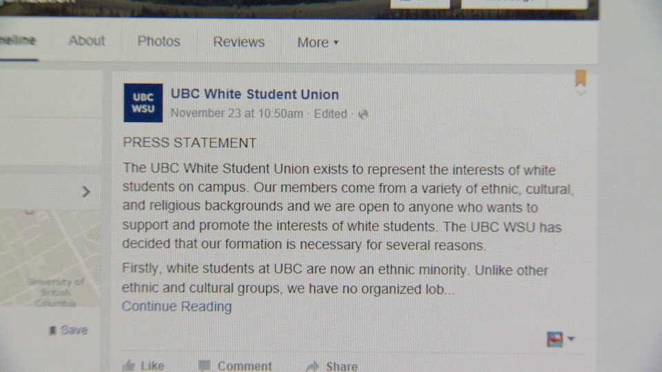 """A post on the """"UBC White Student Union Facebook"""" page is shown. Nov. 25, 2015. (Facebook)"""