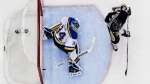 Pittsburgh Penguins' Patric Hornqvist screens St. Louis Blues goalie Jake Allen as a shot by Penguins' Sidney Crosby gets past him for a goal during the second period of an NHL hockey game in Pittsburgh, Wednesday, Nov. 25, 2015. (AP / Gene J. Puskar)