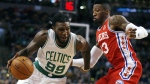 Boston Celtics' Jae Crowder drives past Philadelphia 76ers' Robert Covington during the first quarter of an NBA basketball game in Boston, Wednesday, Nov. 25, 2015. (AP / Michael Dwyer)