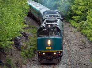 In  this file photo, a Via Rail train moves through Halifax on Tuesday, June 4, 2013.. (Andrew Vaughan/THE CANADIAN PRESS)