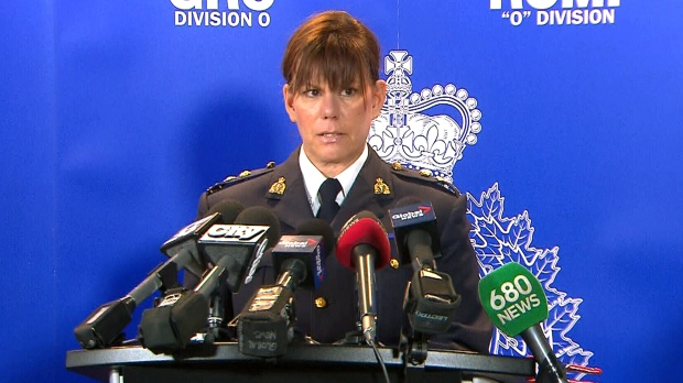 RCMP Supt. Lisa Crouch speaks during a press conference in Milton, Ont., Thursday, Nov. 26, 2015.