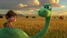 Spot, voiced by Jack Bright, left, and Arlo, voiced by Raymond Ochoa, in a scene from 'The Good Dinosaur.' (Pixar-Disney)
