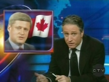 John Stewart is seen discussing Canadian politics, Monday, Dec. 8, 2008, in this image taken from video.