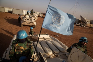 In this Feb. 25, 2015 photo provided by the United Nations, UN peacekeepers from Bangladesh arrive at the Niger Battalion Base in Ansongo, in eastern Mali. (Marco Dormino / United Nations)