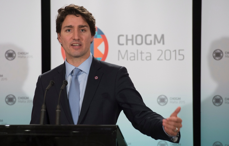 Canadian Prime Minister Justin Trudeau speaks with the media following the Commonwealths Heads of Government meeting in Valletta Saturday November 28, 2015. (Adrian Wyld / THE CANADIAN PRESS)