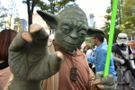 A participant wearing a Star Wars costume poses before the Halloween Parade in Kawasaki. (AFP/ Kazuhiro Nogi)