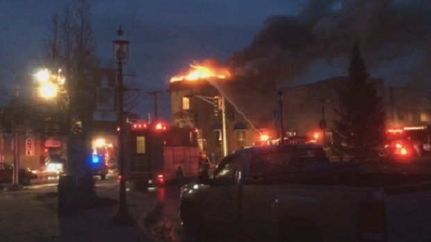 At least four buildings were damaged or destroyed during a fire in downtown Bathurst Friday night (Photo: Paul Chapman)