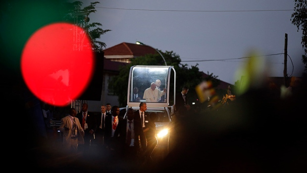 Pope Francis arrives at Kampala's cathedral, Uganda, to meet with priests, religious and seminarians in Saturday, Nov. 28, 2015. (AP / Andrew Medichini)