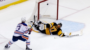 Matt Hendricks and Jordan Eberle scored in a shootout and the Edmonton Oilers beat the Pittsburgh Penguins 3-2 on Saturday night. (AP Photo/Gene J. Puskar)