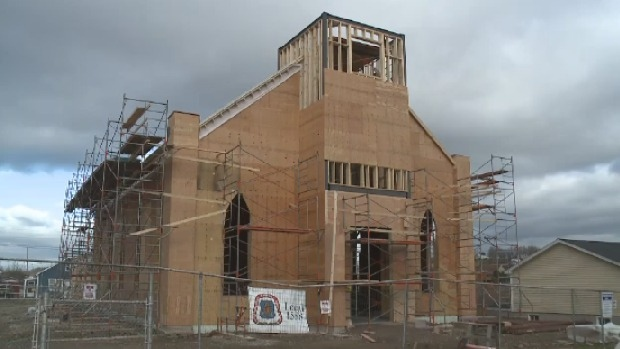 The new St. Mary's Polish Church is about halfway complete.