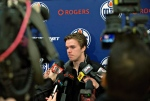 Edmonton Oilers Connor McDavid speaks to media for the first time since his injury, in Edmonton, Alta., on Monday November 16, 2015.(Jason Franson/ THE CANADIAN PRESS)