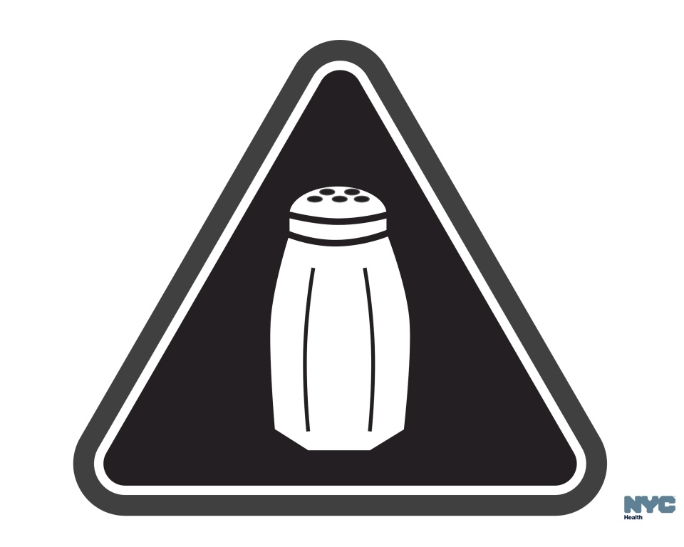 In this undated image released by the New York City Health Department, shows a graphic that will soon be warning NYC consumers of high salt content. (Antonio D'Angelo/New York City Health Department via AP)