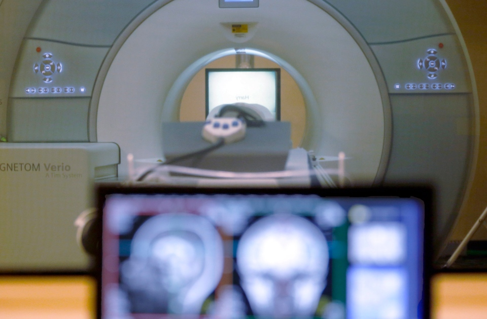 In this Nov. 26, 2014 file photo, the brain-scanning MRI machine that was used at Carnegie Mellon University in Pittsburgh, for an experiment on tracking brain data is seen on campus. (Keith Srakocic / AP Photo)