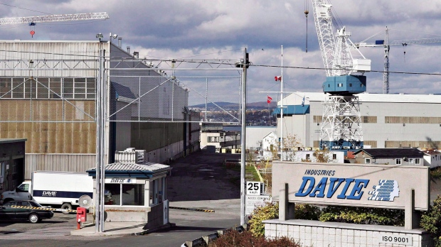 The entrance of the Davie shipyard in Levis, Que., is shown on Oct. 13, 2006. (Jacques Boissinot / The Canadian Press)