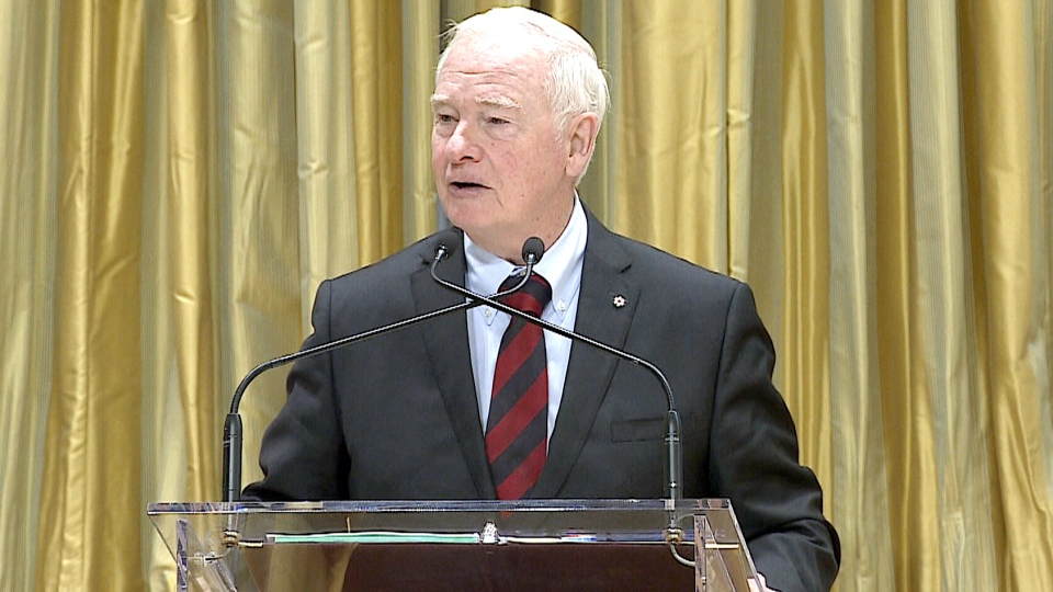 Governor General David Johnston speaks at a forum on welcoming Syrian refugees to Canada, at Rideau Hall in Ottawa, on Dec. 1, 2015.