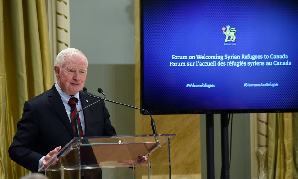 Governor General David Johnston speaks at the start of the Forum on Welcoming Syrian Refugees to Canada at Rideau Hall in Ottawa on Tuesday, Dec. 1, 2015. (Justin Tang / THE CANADIAN PRESS)