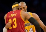 Lakers guard Kobe Bryant, right, and Cleveland Cavaliers forward LeBron James give each other a hug before the start of Thursday's game Jan. 15, 2015. (AP/The Orange County Register, Paul Rodriguez)