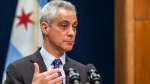 Chicago Mayor Rahm Emanuel speaks at a news conference where he announced the firing of Chicago Police Superintendent Garry McCarthy and discussed the creation of a newly created task force on police accountability, in Chicago, Tuesday, Dec. 1, 2015. (Ashlee Rezin / Sun-Times Media via AP)